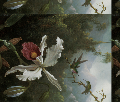 Two Hummingbirds Above a White Orchid: Heade fabric by craftyscientists on Spoonflower - custom fabric