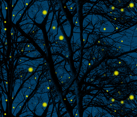 Summer Magic ~ Fireflies In Trees fabric by peacoquettedesigns on Spoonflower - custom fabric