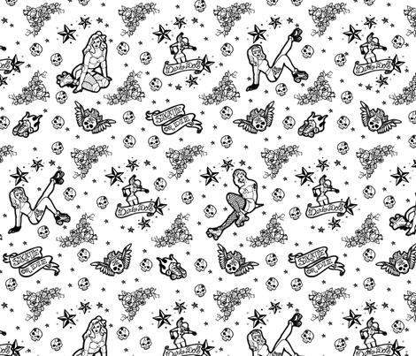 Roller Derby Tattoo Ditsy - Black & White fabric by vixxin on Spoonflower - custom fabric