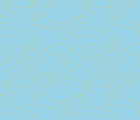 vague_pointillée_bleu_jaune_L fabric by nadja_petremand on Spoonflower - custom fabric