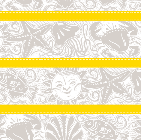 Beach Comber - Gold fabric by dianne_annelli on Spoonflower - custom fabric