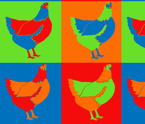 Traditional Pop Art Chickens fabric by kfrogb on Spoonflower - custom fabric