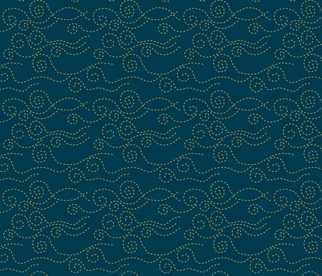 vague_pointillée_marine_jaun_M fabric by nadja_petremand on Spoonflower - custom fabric