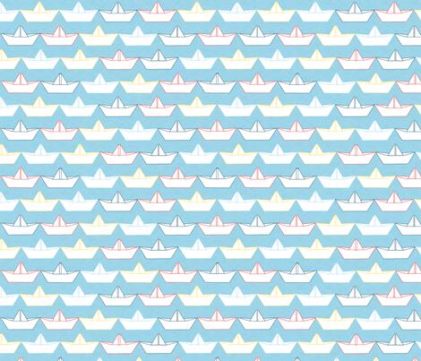 paper_boat_blanc_fond_ciel_M fabric by nadja_petremand on Spoonflower - custom fabric
