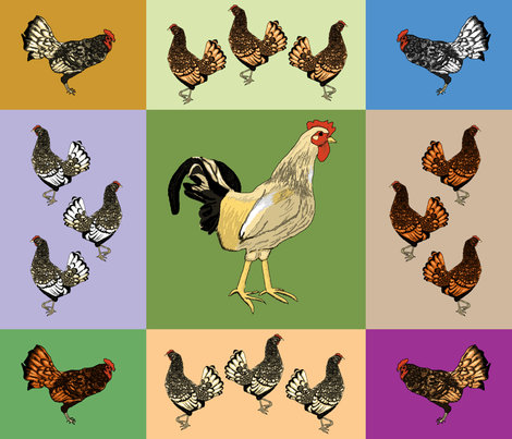 roosters_uneven_9_patch_A fabric by khowardquilts on Spoonflower - custom fabric