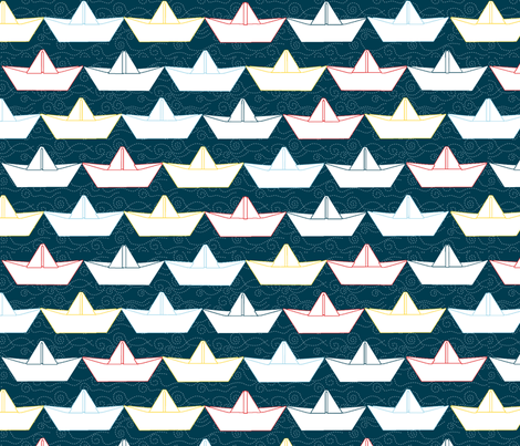 paper_boat_blanc_fond_marine_L fabric by nadja_petremand on Spoonflower - custom fabric