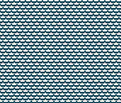 paper_boat_blanc_fond_marine_S fabric by nadja_petremand on Spoonflower - custom fabric