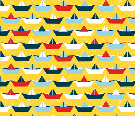 sailing_paper_boat_jaune_XL fabric by nadja_petremand on Spoonflower - custom fabric