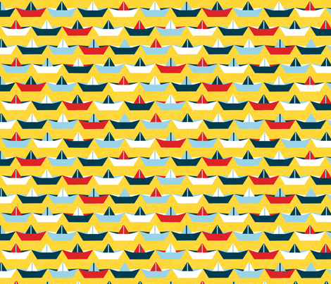sailing_paper_boat_jaune_L fabric by nadja_petremand on Spoonflower - custom fabric