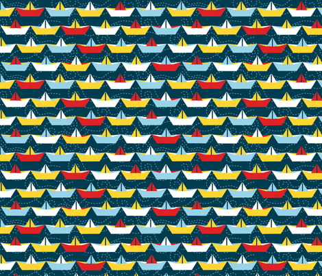 sailing_paper_boat_marine_L fabric by nadja_petremand on Spoonflower - custom fabric