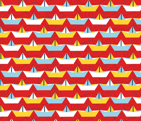 sailing_paper_boat_rouge_XL fabric by nadja_petremand on Spoonflower - custom fabric