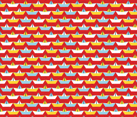 sailing_paper_boat_rouge_L fabric by nadja_petremand on Spoonflower - custom fabric