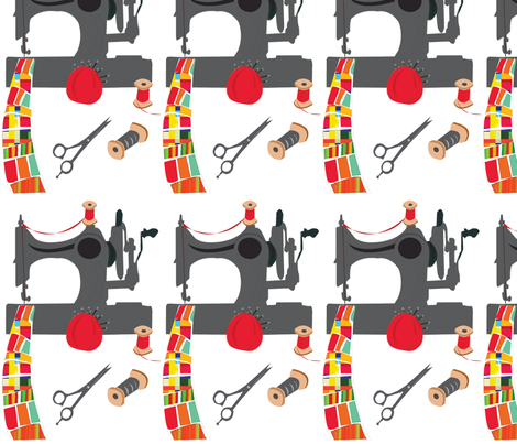 Vintage Sewing Machine and Quilt  fabric by rozidesigns on Spoonflower - custom fabric