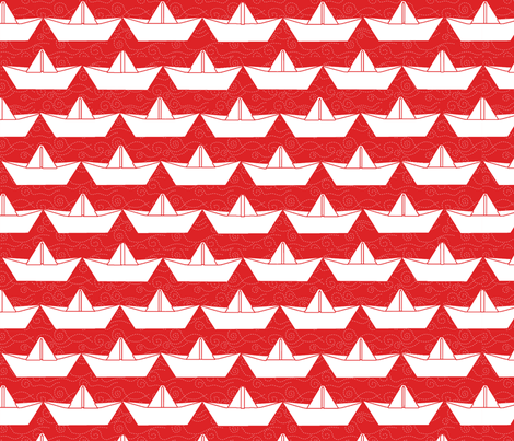 paper_boat_blanc_bord_rouge_L fabric by nadja_petremand on Spoonflower - custom fabric