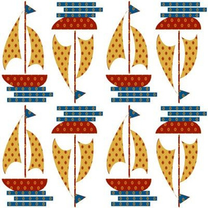 Calico Print Kids Sail Boat