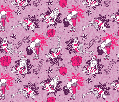 Derby Girls Pin Ups Bruise fabric by vixxin on Spoonflower - custom fabric