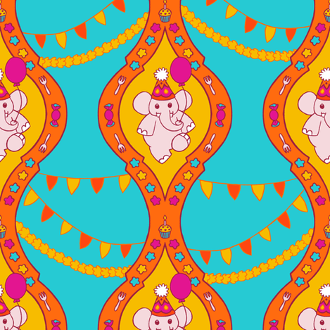 Bollywood Birthday (Teal) fabric by aimee on Spoonflower - custom fabric