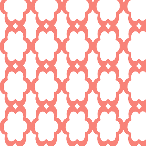 daisy chain in coral fabric by mezzime on Spoonflower - custom fabric