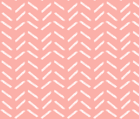 crayon chevrons in coral fabric by mezzime on Spoonflower - custom fabric