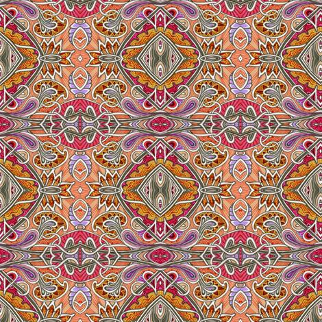 Orange Jacobean Autumn fabric by edsel2084 on Spoonflower - custom fabric