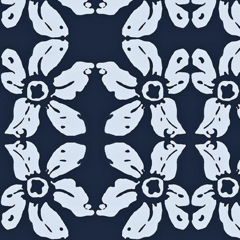 Blue lily bandana 02 fabric by dk_designs on Spoonflower - custom fabric
