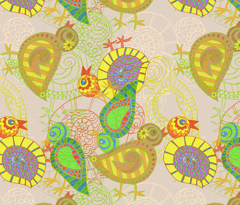 Citrus Chickens fabric by wiccked on Spoonflower - custom fabric