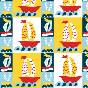 Three Boats Cheater Quilt