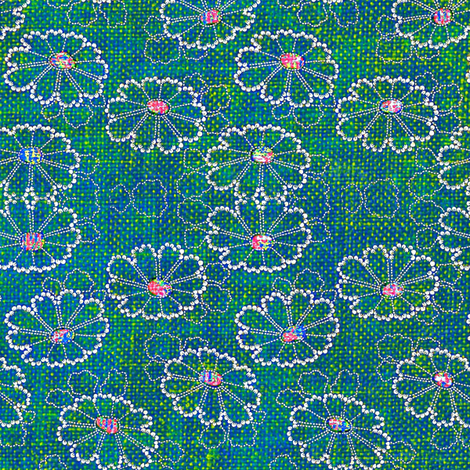 Beaded Daisies - turquoise, green, pink fabric by materialsgirl on Spoonflower - custom fabric