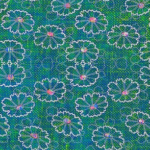 Beaded Daisies - turquoise, green, pink