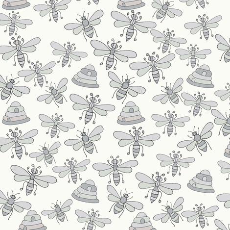 Bees & Beehives, Grey fabric by de-ann_black on Spoonflower - custom fabric