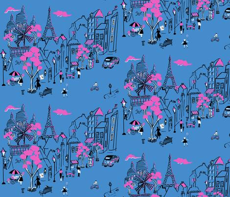 Montmartre de Paris Blue fabric by hollycejeffriess on Spoonflower - custom fabric