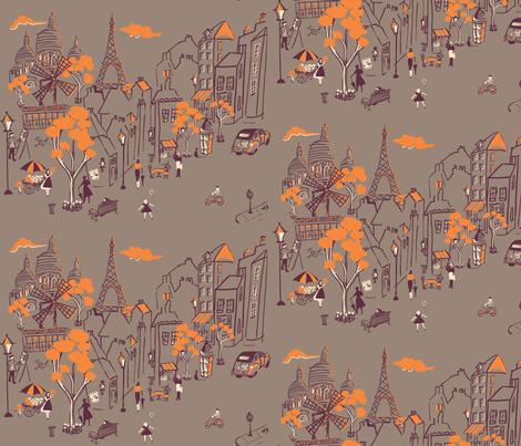 Montmarte de Paris  Taupe fabric by hollycejeffriess on Spoonflower - custom fabric