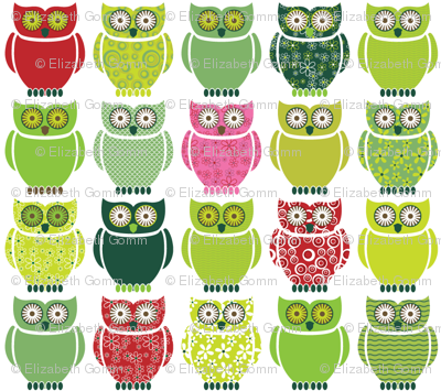 Owls - forest colours