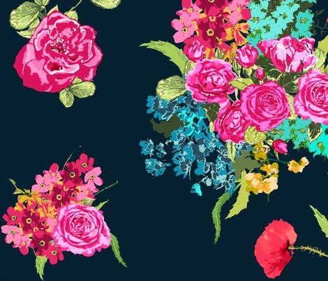 bouquet dark navy fabric by katarina on Spoonflower - custom fabric