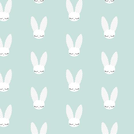Bunnies - Mint (small) fabric by kimsa on Spoonflower - custom fabric