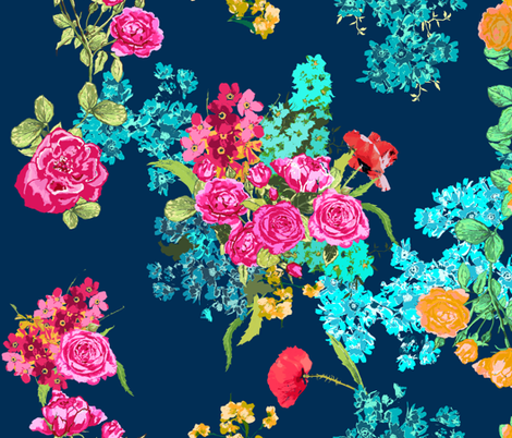 bouquet navy large fabric by katarina on Spoonflower - custom fabric