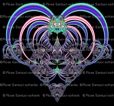 Fractal: Heart in Pinks and Blues