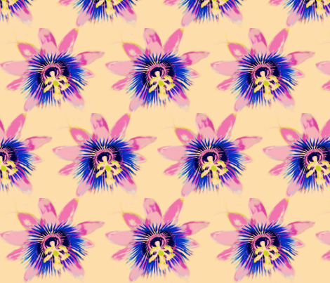 Passion-Flowers on Peach fabric by frances_hollidayalford on Spoonflower - custom fabric