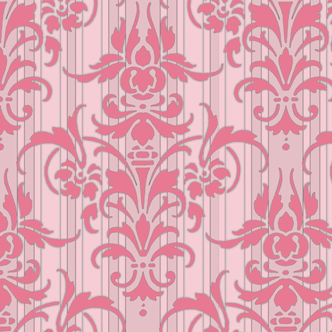 Pink Dawn ~ Pink Damask Stripe fabric by peacoquettedesigns on Spoonflower - custom fabric