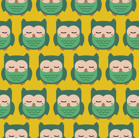 Green Owlies fabric by kimsa on Spoonflower - custom fabric