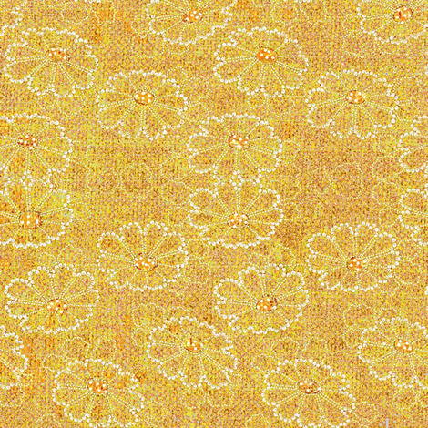 Beaded Daisies - Yellow, orange, white fabric by materialsgirl on Spoonflower - custom fabric