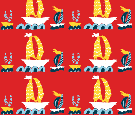 Three Boats in a Row Red fabric by saartje on Spoonflower - custom fabric