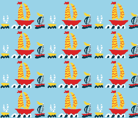 Three Boats in a Row Blue fabric by saartje on Spoonflower - custom fabric