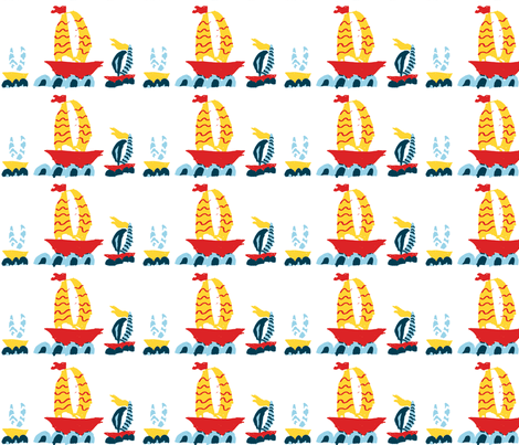 Three Boats in a Row White fabric by saartje on Spoonflower - custom fabric