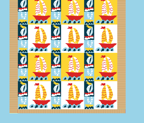 Three Boats Baby Quilt fabric by saartje on Spoonflower - custom fabric