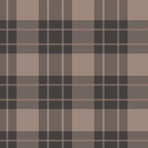 Large brown stripe/tan plaid