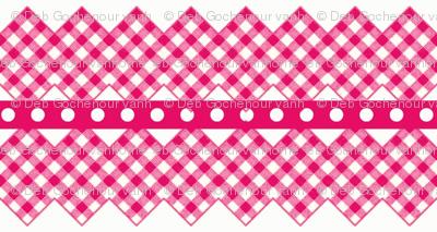 gingham ribbon  rick rack hot pink