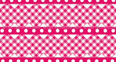 gingham ribbon  double rick rack hot pink