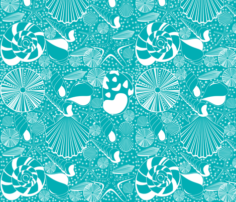 Seaside Shells in Turquoise fabric by curlywillowco on Spoonflower - custom fabric
