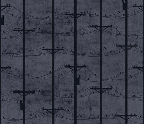 Wired Birds / DUSK fabric by juliesfabrics on Spoonflower - custom fabric